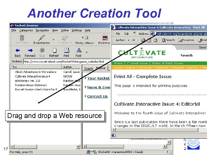 Another Creation Tool Drag and drop a Web resource 17