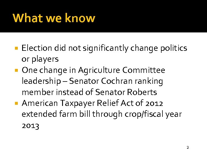 What we know Election did not significantly change politics or players One change in