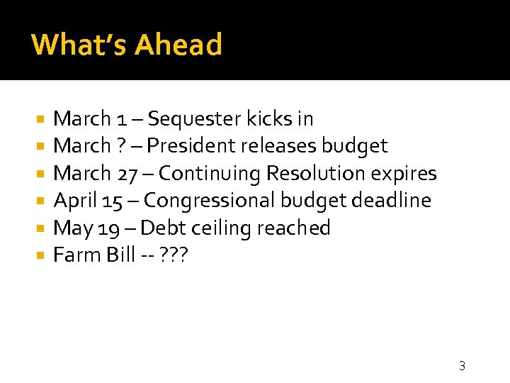 What's Ahead March 1 – Sequester kicks in March ? – President releases budget