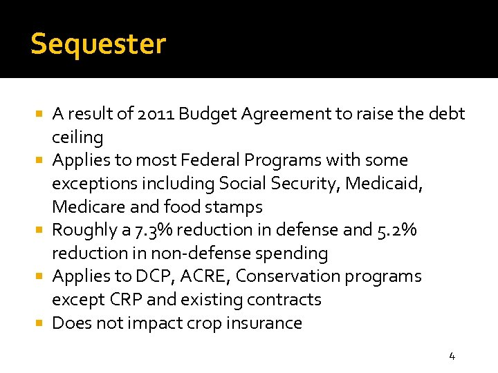Sequester A result of 2011 Budget Agreement to raise the debt ceiling Applies to