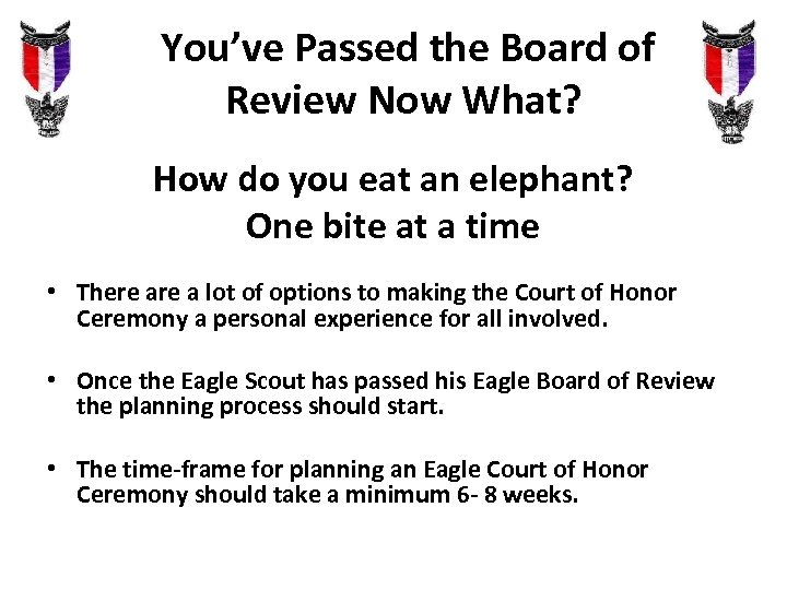 You've Passed the Board of Review Now What? How do you eat an