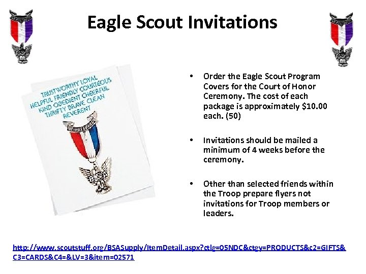 Eagle Scout Invitations • Order the Eagle Scout Program Covers for the Court