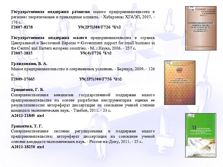 Государственная поддержка развития малого предпринимательства в регионе: теоретические и прикладные аспекты. - Хабаровск: ХГАЭП,