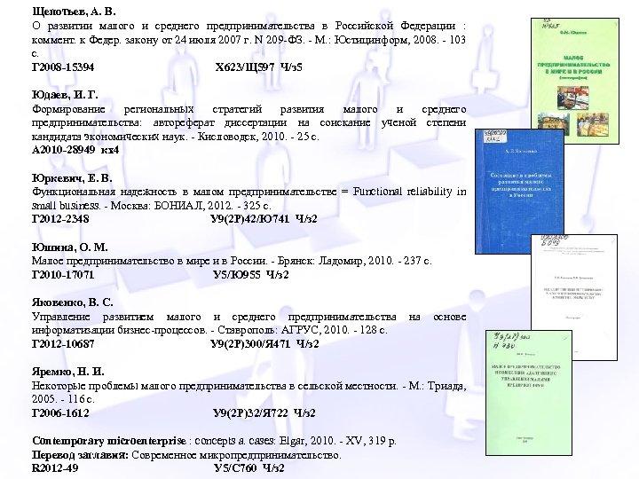 Щепотьев, А. В. О развитии малого и среднего предпринимательства в Российской Федерации : коммент.