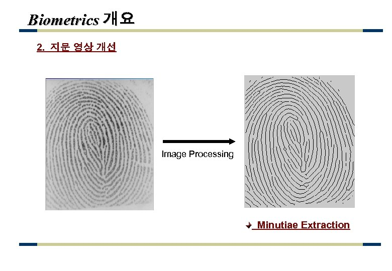 Biometrics 개요 2. 지문 영상 개선 Image Processing Minutiae Extraction