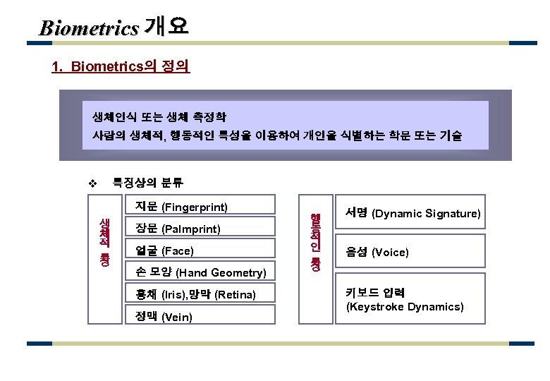 Biometrics 개요 1. Biometrics의 정의 생체인식 또는 생체 측정학 사람의 생체적, 행동적인 특성을 이용하여
