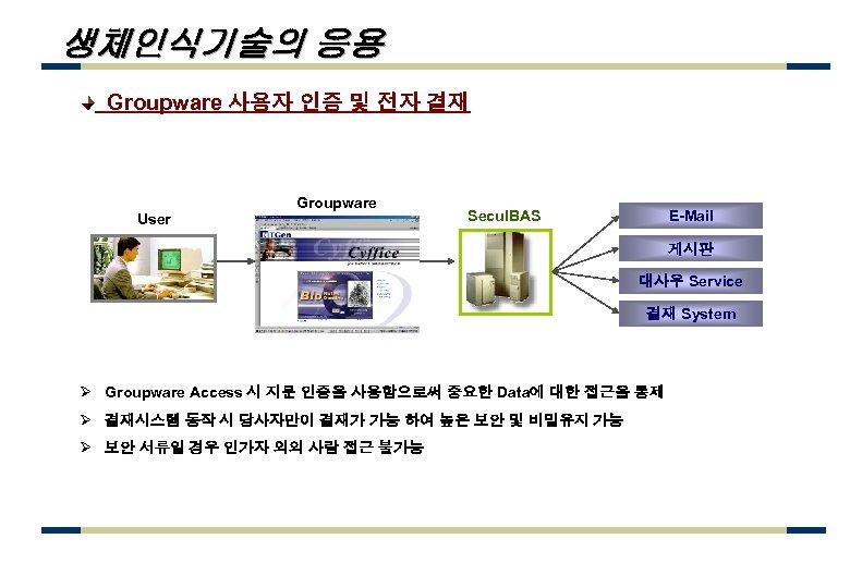 생체인식기술의 응용 Groupware 사용자 인증 및 전자 결재 User Groupware Secu. IBAS E-Mail 게시판