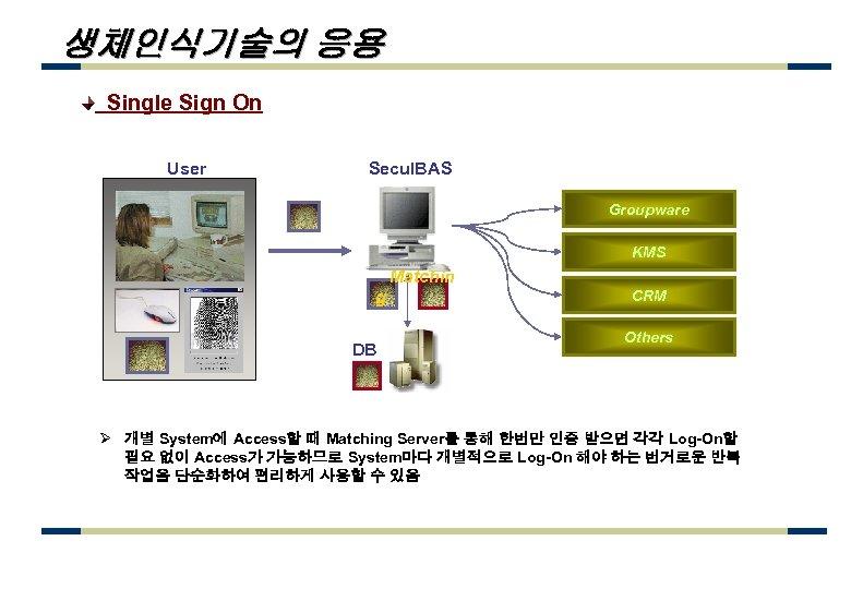 생체인식기술의 응용 Single Sign On User Secu. IBAS Groupware KMS Matchin g DB CRM