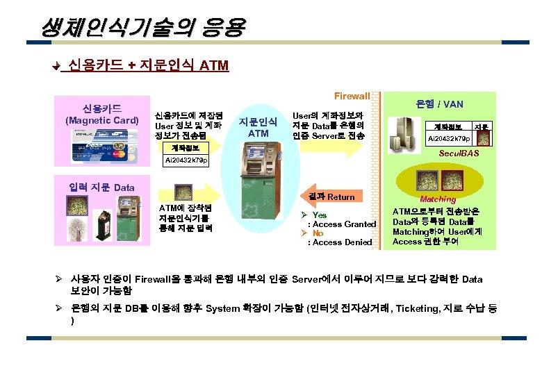 생체인식기술의 응용 신용카드 + 지문인식 ATM Firewall 신용카드 (Magnetic Card) 신용카드에 저장된 User 정보