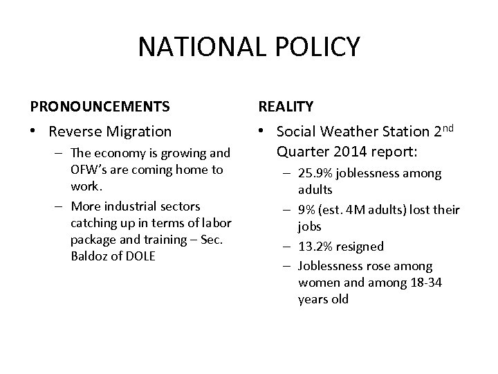 NATIONAL POLICY PRONOUNCEMENTS REALITY • Reverse Migration • Social Weather Station 2 nd Quarter