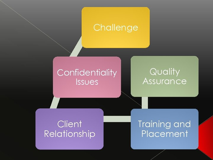 Challenge Confidentiality Issues Client Relationship Quality Assurance Training and Placement