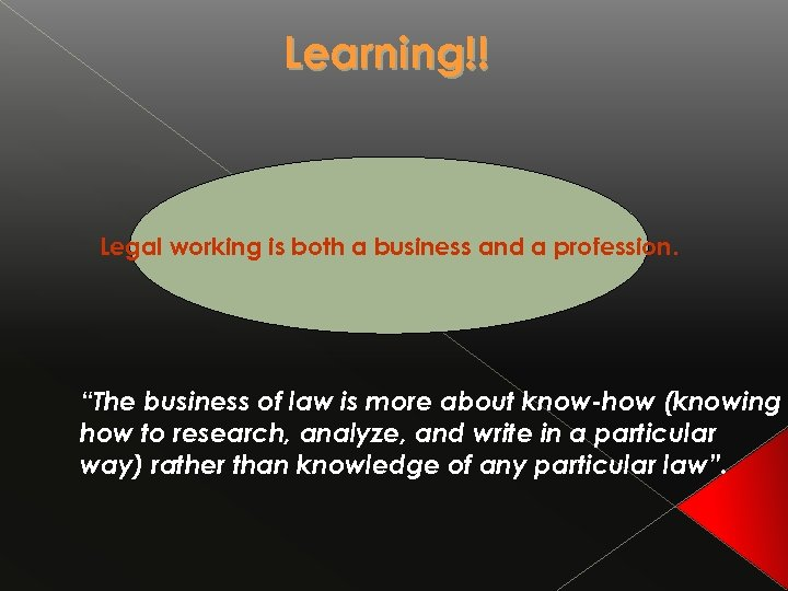 "Learning!! Legal working is both a business and a profession. ""The business of law"