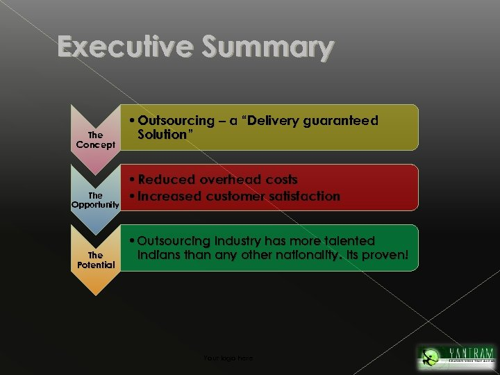 "Executive Summary The Concept The Opportunity The Potential • Outsourcing – a ""Delivery guaranteed"