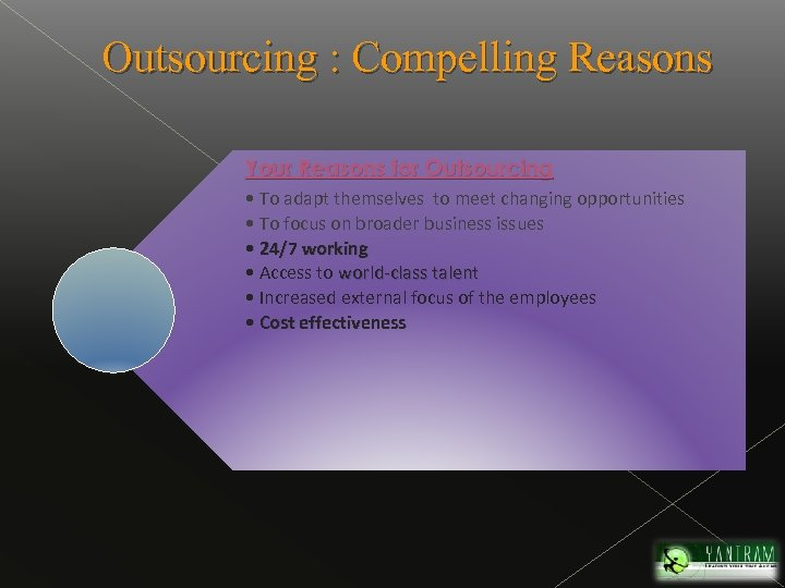 Outsourcing : Compelling Reasons Your Reasons for Outsourcing • To adapt themselves to meet