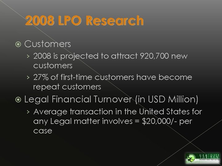 2008 LPO Research Customers › 2008 is projected to attract 920, 700 new customers