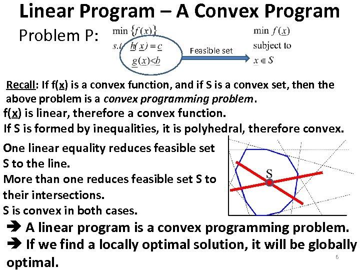 Linear Program – A Convex Program Problem P: Feasible set Recall: If f(x) is