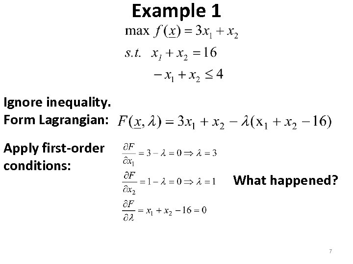 Example 1 Ignore inequality. Form Lagrangian: Apply first-order conditions: What happened? 7