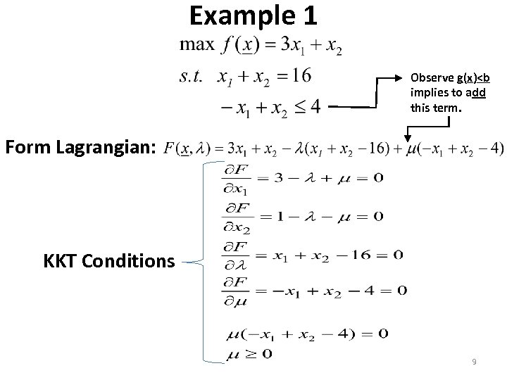 Example 1 Observe g(x)<b implies to add this term. Form Lagrangian: KKT Conditions 9