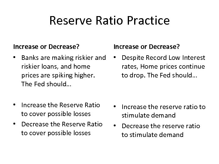 Reserve Ratio Practice Increase or Decrease? • Banks are making riskier and • Despite