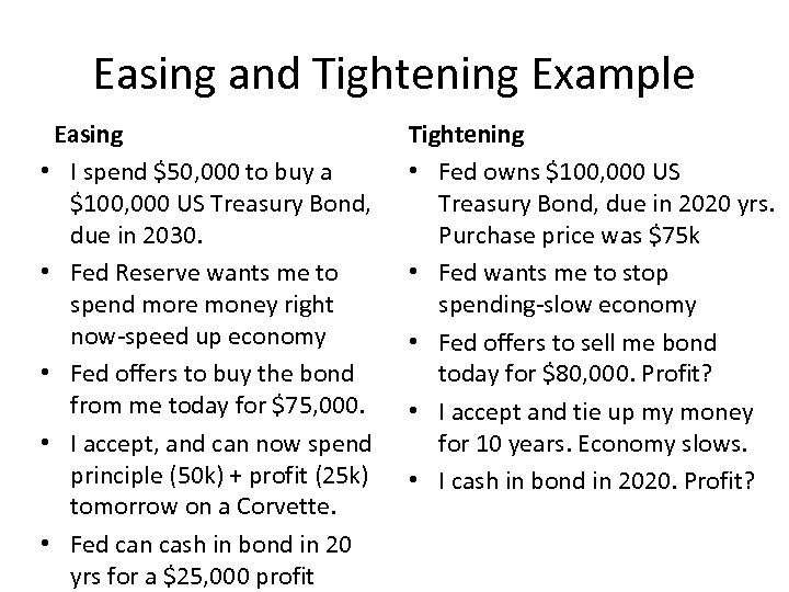 Easing and Tightening Example Easing • I spend $50, 000 to buy a $100,