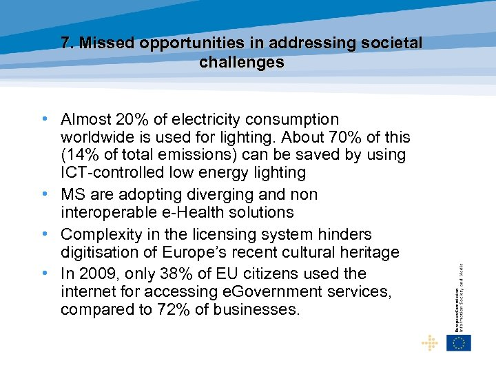 7. Missed opportunities in addressing societal challenges • Almost 20% of electricity consumption worldwide