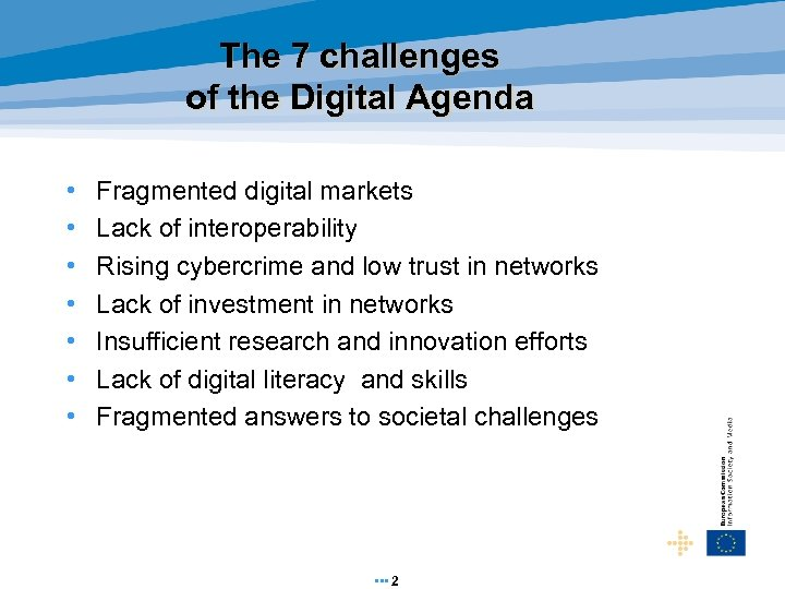 The 7 challenges of the Digital Agenda • • Fragmented digital markets Lack of