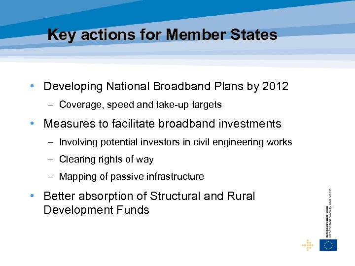 Key actions for Member States • Developing National Broadband Plans by 2012 – Coverage,