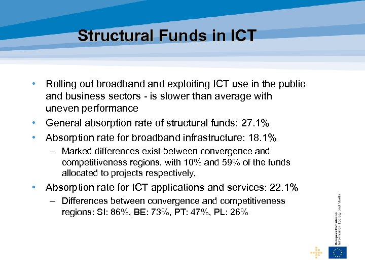 Structural Funds in ICT • Rolling out broadband exploiting ICT use in the public