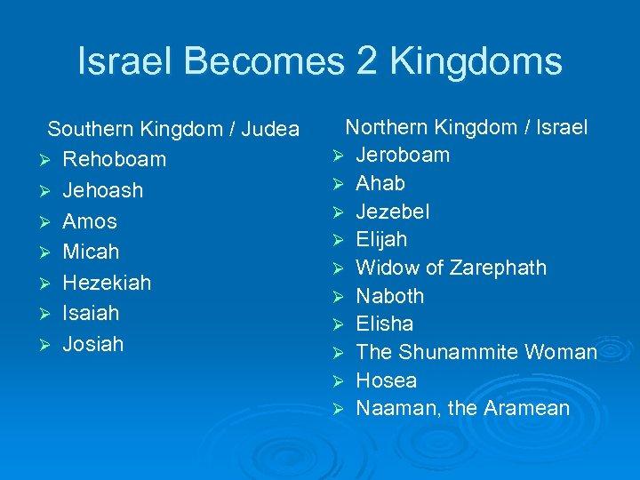 Israel Becomes 2 Kingdoms Southern Kingdom / Judea Ø Rehoboam Ø Jehoash Ø Amos