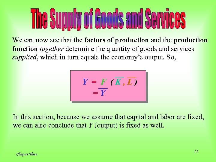 We can now see that the factors of production and the production function together