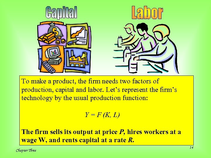 To make a product, the firm needs two factors of production, capital and labor.