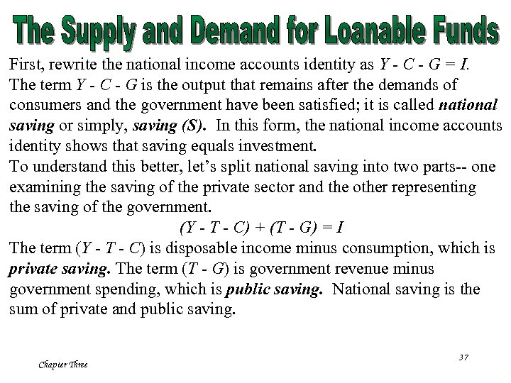 First, rewrite the national income accounts identity as Y - C - G =