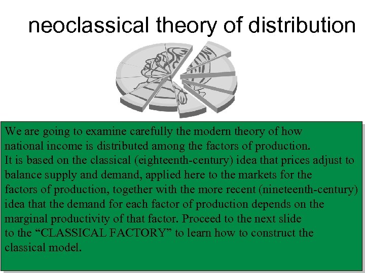 neoclassical theory of distribution We are going to examine carefully the modern theory of