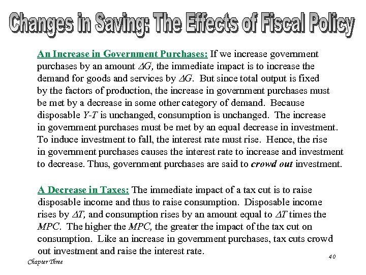 An Increase in Government Purchases: If we increase government purchases by an amount DG,