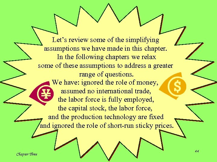 Let's review some of the simplifying assumptions we have made in this chapter. In