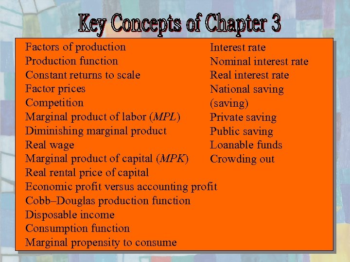 Factors of production Interest rate Production function Nominal interest rate Constant returns to scale