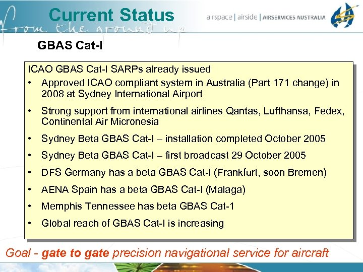 Current Status GBAS Cat-I ICAO GBAS Cat-I SARPs already issued • Approved ICAO compliant