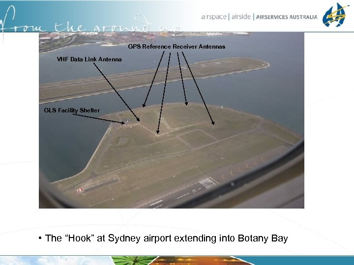 """GPS Reference Receiver Antennas VHF Data Link Antenna GLS Facility Shelter • The """"Hook"""""""