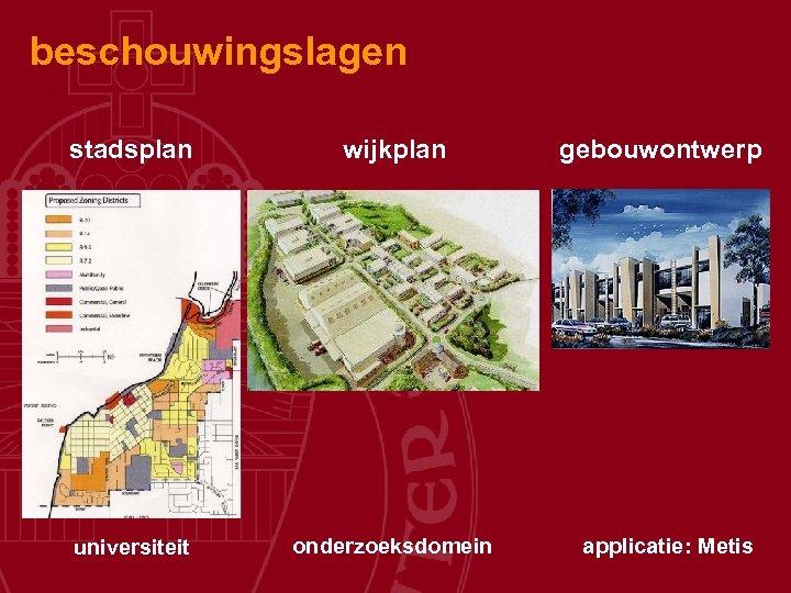 beschouwingslagen stadsplan wijkplan universiteit onderzoeksdomein gebouwontwerp applicatie: Metis