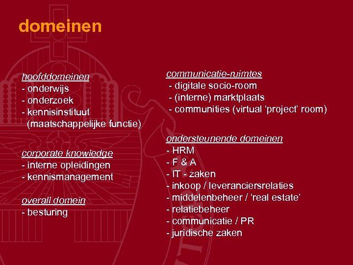 domeinen hoofddomeinen - onderwijs - onderzoek - kennisinstituut (maatschappelijke functie) corporate knowledge - interne