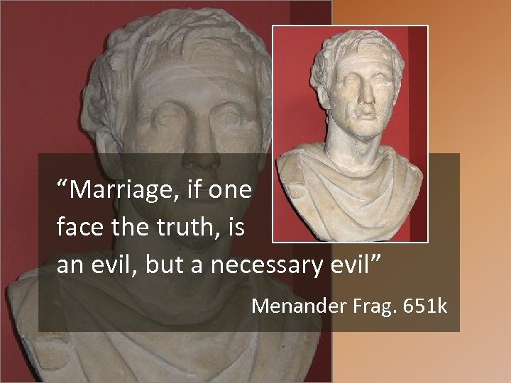 """""""Marriage, if one face the truth, is an evil, but a necessary evil"""" Menander"""