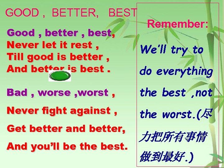 GOOD , BETTER, BEST Remember: Good , better , best, Never let it rest