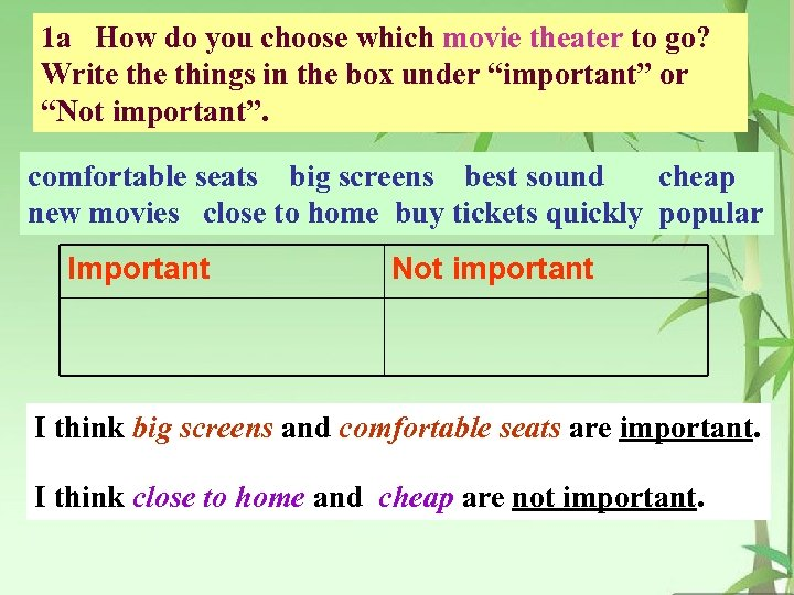 1 a How do you choose which movie theater to go? Write things in