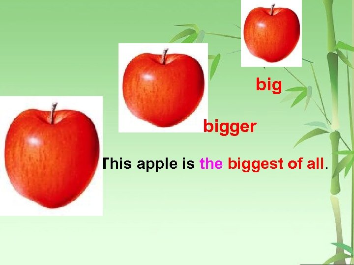 big bigger This apple is the biggest of all.