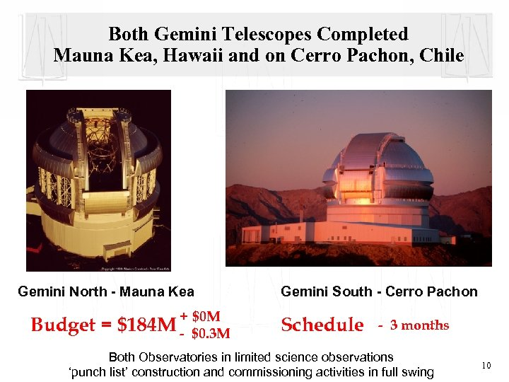 Both Gemini Telescopes Completed Mauna Kea, Hawaii and on Cerro Pachon, Chile Gemini North