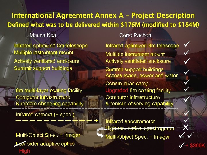 International Agreement Annex A – Project Description Defined what was to be delivered within