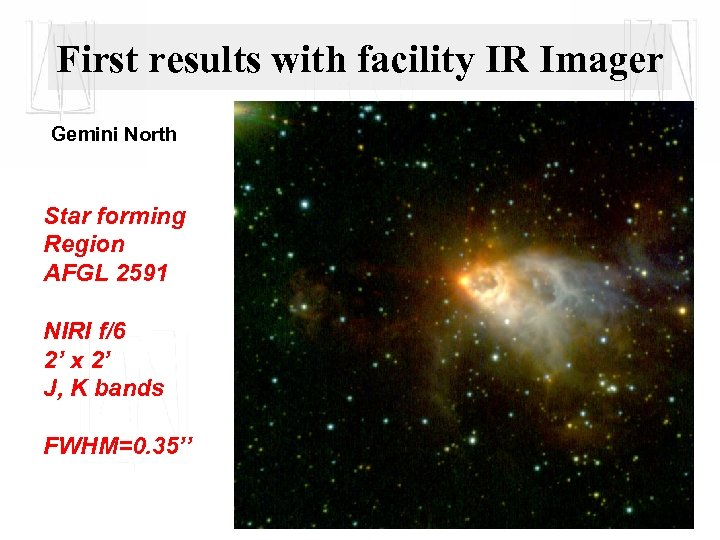 First results with facility IR Imager Gemini North Star forming Region AFGL 2591 NIRI