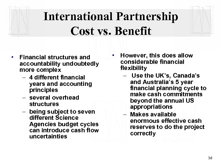 International Partnership Cost vs. Benefit • Financial structures and accountability undoubtedly more complex –