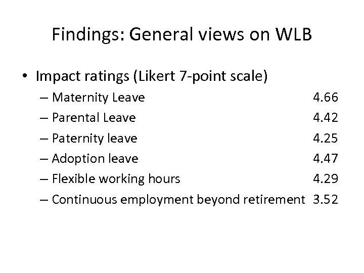 Findings: General views on WLB • Impact ratings (Likert 7 -point scale) – Maternity