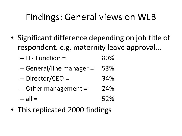 Findings: General views on WLB • Significant difference depending on job title of respondent.